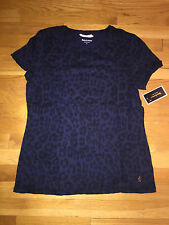 JUICY COUTURE REGAL BLUE LEOPARD SHIRT ORG. $68.00 SIZE LARGE BNWT