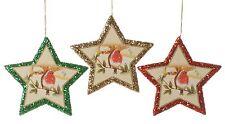 Set of 3 Christmas Robins Star Tree Decorations  NEW   25451