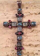 """Nicky Butler HSN Semi Precious Amethyst Garnet Moonstone Cross 3""""x2"""""""