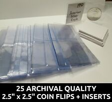 """25 Archival Quality Mylar 2.5"""" coin flips + paper inserts - PCGS Submission Kit"""
