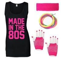 MADE IN THE 80s Ladies Vest & Accessories Fancy Dress Costume Outfit Neon 80's