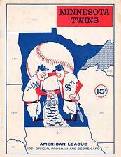 1961 Minnesota Twins First Home Game Series v Senators