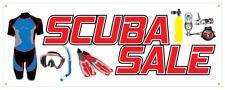 Scuba Sale Banner Underwater Snorkel Mask Tanks Suit Retail Store Sign 36x96