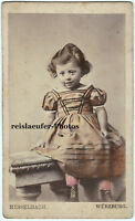 Cute little girl. Original vintage colored Cdv Photo from ca. 1867