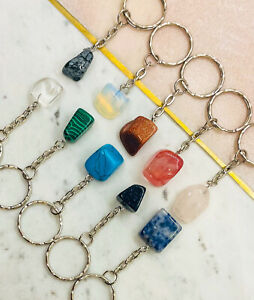 Reiki Healing Natural Gemstone Chakra Crystal Keyring gift (1 Random supplied)