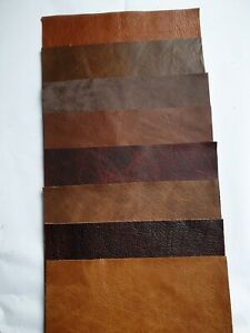 9 x Leather Pcs -15x7.5cm Mixed Browns/Reds  Scraps Offcuts, - Craft, Repairs,