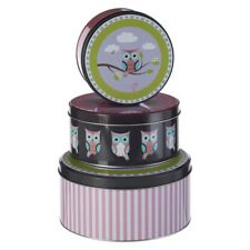 Set of 3 Happy Owl Cake Round Storage Tins Cupcake Biscuit Pink Purple Retro