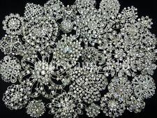 Lot32 Bulk Alloy Silver Rhinestone Crystal Flower Brooches Pins DIY Bouquet