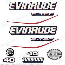 Evinrude 40hp E-Tec Blue Cowl Outboard Decals- 2004 2005 2006 2007 2008 Stickers