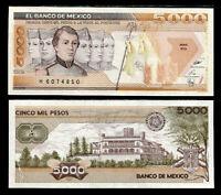 MEXICO 5000 5,000 PESOS 1989 Serie KQ P 88c UNC