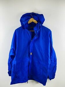 K Way Men's Vintage Full Zip Hooded Lined Spray Jacket with Pockets Size L Blue