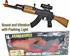 Kids Army Force AK-47 Assault Rifle Toy Swat Gun Light Sound & Vibration 65cms