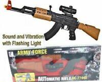 Kids Army Force AK-47 Assault Rifle Toy Swat Gun Light Sound & Vibration 85cms