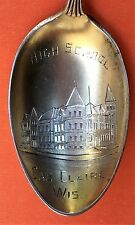 RARE EAU CLAIRE WISCONSIN HIGH SCHOOL STERLING SILVER SOUVENIR SPOON