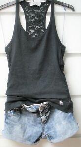 Abercrombie Fitch Top Shirt S 36 38 figurbetont d´blau marine Spitze Stick-Logo