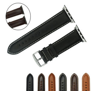 for Apple Watch 38mm 42mm Italian Genuine Leather Watch Band Strap Black Brown