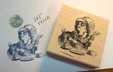"""P13 Alice in Wonderland Rubber stamp """"Mad Hatter"""" WM 2x2"""""""