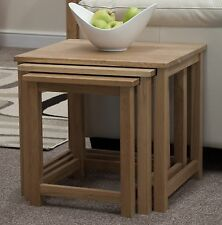 Nero Solid Oak Furniture Nest of Three Coffee Tables Set With Felt Pads