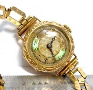 ANTIQUE  9ct 375 GOLD  WATCH 1/10 12ct  ROLLED GOLD STRAP  SCRAP GOLD OR WEAR