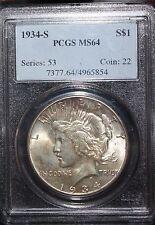 1934- S Peace Dollar PCGS 7377.64/4965854  MS64 -