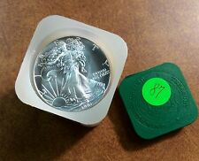 { BJSTAMPS}  1987 Silver American Eagle BU Uncirculated Roll of 20 in mint tube