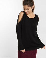EXPRESS Zip Cold Shoulder Tunic Sweater Black XS sold out
