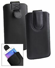 Stylish PU Leather Pouch Case Sleeve has Pull Tab fits the Intex Smartphone