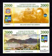 SAINT MARTIN / SINT MAARTEN : BILLET POLYMER 2000 FRANCS ★ ANTILLES FRAN.