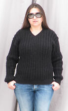 ANGORA Hand Knitted V-neck Sweater BLACK Fuzzy Pullover Jumper Unisex Soft Cosy