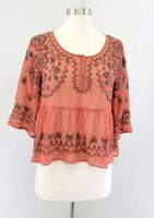Free People Sheer Peach Orange Floral Embroidered Top Blouse Size XS Peplum Boho