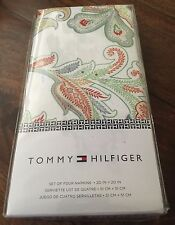 "4pc TOMMY HILFIGER Jacobean Paisley COTTON NAPKINS 20"" Square SAGE IVORY NWT"