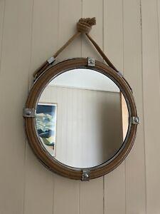 Round Nautical Industrial Mirror Hanging Rope Bathroom Circle Circular