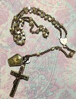 Antique German Mother Of Pearl Rosary Sacred Heart Of Jesus Medal-Estate