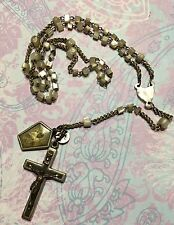 Antique German Mother Of Pearl Child's Rosary Sacred Heart Of Jesus Medal-Estate