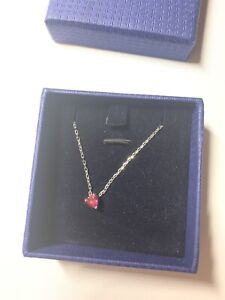 Authentic Swarovski Ruby Red Heart Necklace In Original Packaging