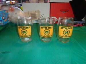 "Lot of 3 Notre Dame Fighting Irish 1977 National Champions Football Glasses 5"""