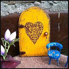Fairy Door, Fairy Garden, Yellow w/ A Brown Heart, Handmade, Garden Decor, Gifts
