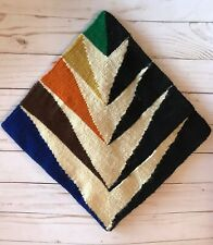 VTG ABSTRACT Geometric HANDWOVEN TAPESTRY WALL ART TEXTILE FOLK ART MCM