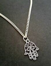 "Small Hand of FATIMA Hamsa Necklace 18"" Chain Tibetan Silver"