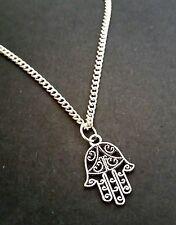 "Small Hand of FATIMA Hamsa Necklace 18"" Chain Tibetan Silver FREE Gift Bag"