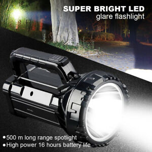 Powerful LED Flashlight Torch USB Rechargeable Searchlight Waterproof Spotlight