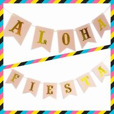 Aloha Party Banner | Fiesta Bunting Garland Décor | Pink & Gold Lettering | FREE