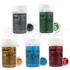 Sugarflair Pasta De Satén - - Conjunto completo de 5-Gel de color metálico de Alimentos Concentrado