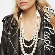 NWT Free People Layered Pearl & Bow Necklace W/ White Ribbon