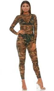 Camouflage Print Catsuit Long Sleeves Zipper Closure Sheer Mesh Layering 118704