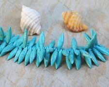 24 Blue Turquoise Howlite stone top drilled spike beads 30x8mm Beading Craft new