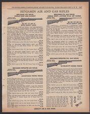 1960 BENJAMIN Air and Gas Rifle BB Gun Single & 25-shot CO2 PRINT AD