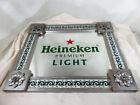 Heineken Premium Light Beer Sign Mirror with distressed metal + mosaic tiles