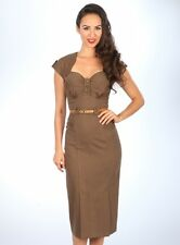 STOP STARING MOCHA BROWN HOUNDSTOOTH JORDAN PINUP ROCKABILLY RETRO DRESS SIZE M