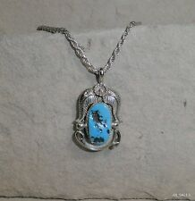 OLD PAWN NAVAJO STERLING SILVER CHUNKY TURQUOISE PENDANT & NECKLACE SIGNED